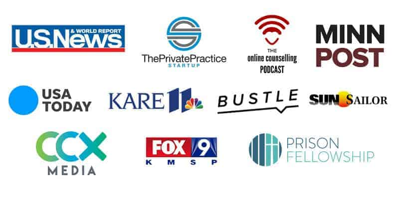 Synergy e Therapy Online Counseling Featured in Media Logos including: US News and World Report, The Private Practice Startup, The online counseling podcast, Minn Post, USA Today, KARE 11, Bustle, Sun Sailor, CCX Media, Fox 9 KMSP, Prison Fellowship